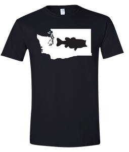 Short Sleeve T-Shirt Washington Black Large Mouth Bass Vibrant Design High Quality Tight Knit Ring Spun Low Maintenance Cotton Printed With The Newest Available Color Transfer Technology