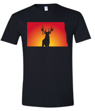 Load image into Gallery viewer, Short Sleeve T-Shirt North Dakota Black Whitetail Deer Vibrant Design High Quality Tight Knit Ring Spun Low Maintenance Cotton Printed With The Newest Available Color Transfer Technology