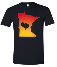 Load image into Gallery viewer, Short Sleeve T-Shirt Minnesota Black Turkey Vibrant Design High Quality Tight Knit Ring Spun Low Maintenance Cotton Printed With The Newest Available Color Transfer Technology