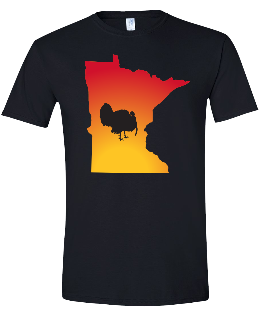 Short Sleeve T-Shirt Minnesota Black Turkey Vibrant Design High Quality Tight Knit Ring Spun Low Maintenance Cotton Printed With The Newest Available Color Transfer Technology