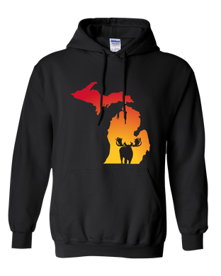 Pullover Hooded Sweatshirt Michigan Black Moose Vibrant Design High Quality Tight Knit Ring Spun Low Maintenance Cotton Printed With The Newest Available Color Transfer Technology