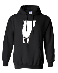Pullover Hooded Sweatshirt Vermont Black Moose Vibrant Design High Quality Tight Knit Ring Spun Low Maintenance Cotton Printed With The Newest Available Color Transfer Technology