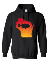 Load image into Gallery viewer, Pullover Hooded Sweatshirt Wisconsin Black Large Mouth Bass Vibrant Design High Quality Tight Knit Ring Spun Low Maintenance Cotton Printed With The Newest Available Color Transfer Technology