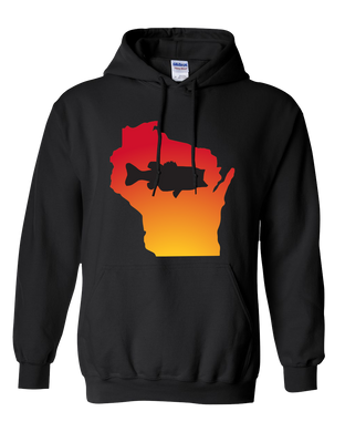 Pullover Hooded Sweatshirt Wisconsin Black Large Mouth Bass Vibrant Design High Quality Tight Knit Ring Spun Low Maintenance Cotton Printed With The Newest Available Color Transfer Technology