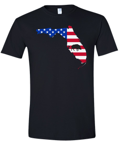 Short Sleeve T-Shirt Florida Black Wild Hog Vibrant Design High Quality Tight Knit Ring Spun Low Maintenance Cotton Printed With The Newest Available Color Transfer Technology