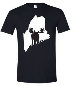 Short Sleeve T-Shirt Maine Black Moose Vibrant Design High Quality Tight Knit Ring Spun Low Maintenance Cotton Printed With The Newest Available Color Transfer Technology