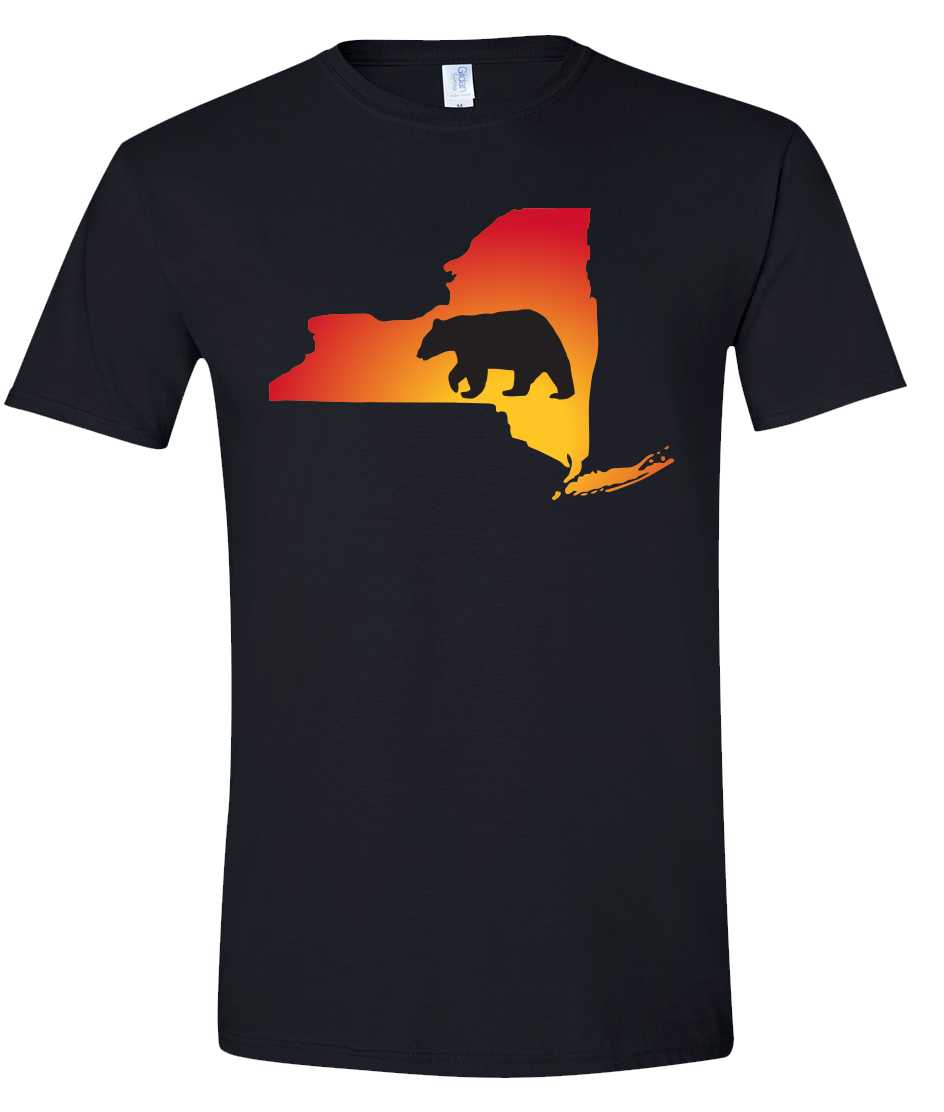 Short Sleeve T-Shirt New York Black Black Bear Vibrant Design High Quality Tight Knit Ring Spun Low Maintenance Cotton Printed With The Newest Available Color Transfer Technology