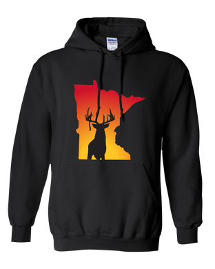 Pullover Hooded Sweatshirt Minnesota Black Whitetail Deer Vibrant Design High Quality Tight Knit Ring Spun Low Maintenance Cotton Printed With The Newest Available Color Transfer Technology