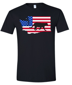 Short Sleeve T-Shirt Washington Black Mountain Lion Vibrant Design High Quality Tight Knit Ring Spun Low Maintenance Cotton Printed With The Newest Available Color Transfer Technology