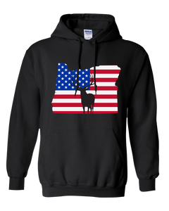 Pullover Hooded Sweatshirt Oregon Black Elk Vibrant Design High Quality Tight Knit Ring Spun Low Maintenance Cotton Printed With The Newest Available Color Transfer Technology