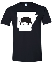 Load image into Gallery viewer, Short Sleeve T-Shirt Arkansas Black Wild Hog Vibrant Design High Quality Tight Knit Ring Spun Low Maintenance Cotton Printed With The Newest Available Color Transfer Technology