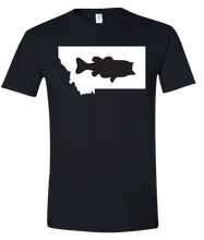 Load image into Gallery viewer, Short Sleeve T-Shirt Montana Black Large Mouth Bass Vibrant Design High Quality Tight Knit Ring Spun Low Maintenance Cotton Printed With The Newest Available Color Transfer Technology