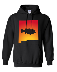 Pullover Hooded Sweatshirt New Mexico Black Large Mouth Bass Vibrant Design High Quality Tight Knit Ring Spun Low Maintenance Cotton Printed With The Newest Available Color Transfer Technology