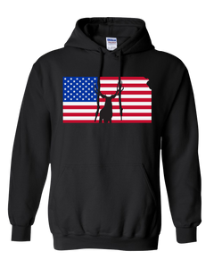 Pullover Hooded Sweatshirt Kansas Black Mule Deer Vibrant Design High Quality Tight Knit Ring Spun Low Maintenance Cotton Printed With The Newest Available Color Transfer Technology
