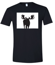 Load image into Gallery viewer, Short Sleeve T-Shirt Colorado Black Moose Vibrant Design High Quality Tight Knit Ring Spun Low Maintenance Cotton Printed With The Newest Available Color Transfer Technology