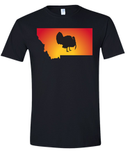 Load image into Gallery viewer, Short Sleeve T-Shirt Montana Black Turkey Vibrant Design High Quality Tight Knit Ring Spun Low Maintenance Cotton Printed With The Newest Available Color Transfer Technology