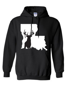 Pullover Hooded Sweatshirt Louisiana Black Whitetail Deer Vibrant Design High Quality Tight Knit Ring Spun Low Maintenance Cotton Printed With The Newest Available Color Transfer Technology