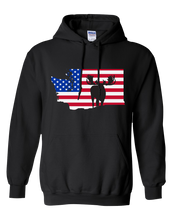 Load image into Gallery viewer, Pullover Hooded Sweatshirt Washington Black Moose Vibrant Design High Quality Tight Knit Ring Spun Low Maintenance Cotton Printed With The Newest Available Color Transfer Technology