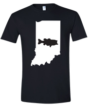 Load image into Gallery viewer, Short Sleeve T-Shirt Indiana Black Large Mouth Bass Vibrant Design High Quality Tight Knit Ring Spun Low Maintenance Cotton Printed With The Newest Available Color Transfer Technology