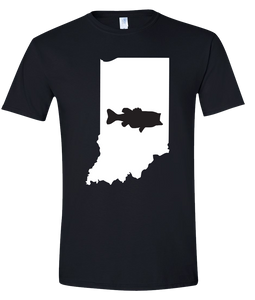 Short Sleeve T-Shirt Indiana Black Large Mouth Bass Vibrant Design High Quality Tight Knit Ring Spun Low Maintenance Cotton Printed With The Newest Available Color Transfer Technology
