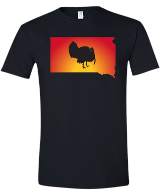Short Sleeve T-Shirt South Dakota Black Turkey Vibrant Design High Quality Tight Knit Ring Spun Low Maintenance Cotton Printed With The Newest Available Color Transfer Technology