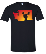 Load image into Gallery viewer, Short Sleeve T-Shirt Washington Black Moose Vibrant Design High Quality Tight Knit Ring Spun Low Maintenance Cotton Printed With The Newest Available Color Transfer Technology