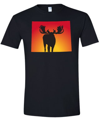 Short Sleeve T-Shirt Wyoming Black Moose Vibrant Design High Quality Tight Knit Ring Spun Low Maintenance Cotton Printed With The Newest Available Color Transfer Technology