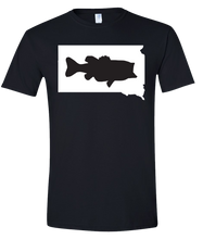 Load image into Gallery viewer, Short Sleeve T-Shirt South Dakota Black Large Mouth Bass Vibrant Design High Quality Tight Knit Ring Spun Low Maintenance Cotton Printed With The Newest Available Color Transfer Technology