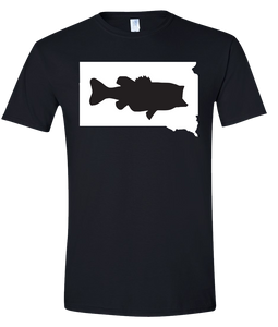 Short Sleeve T-Shirt South Dakota Black Large Mouth Bass Vibrant Design High Quality Tight Knit Ring Spun Low Maintenance Cotton Printed With The Newest Available Color Transfer Technology