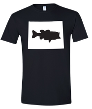 Load image into Gallery viewer, Short Sleeve T-Shirt Wyoming Black Large Mouth Bass Vibrant Design High Quality Tight Knit Ring Spun Low Maintenance Cotton Printed With The Newest Available Color Transfer Technology