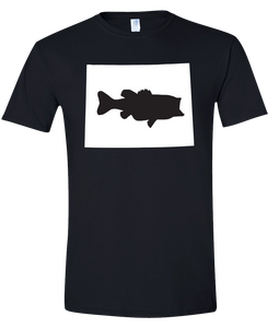 Short Sleeve T-Shirt Wyoming Black Large Mouth Bass Vibrant Design High Quality Tight Knit Ring Spun Low Maintenance Cotton Printed With The Newest Available Color Transfer Technology