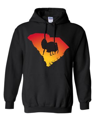 Pullover Hooded Sweatshirt South Carolina Black Turkey Vibrant Design High Quality Tight Knit Ring Spun Low Maintenance Cotton Printed With The Newest Available Color Transfer Technology