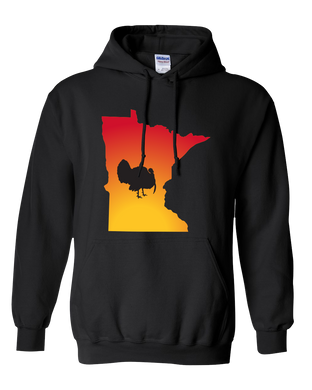 Pullover Hooded Sweatshirt Minnesota Black Turkey Vibrant Design High Quality Tight Knit Ring Spun Low Maintenance Cotton Printed With The Newest Available Color Transfer Technology
