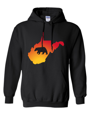 Pullover Hooded Sweatshirt West Virginia Black Black Bear Vibrant Design High Quality Tight Knit Ring Spun Low Maintenance Cotton Printed With The Newest Available Color Transfer Technology