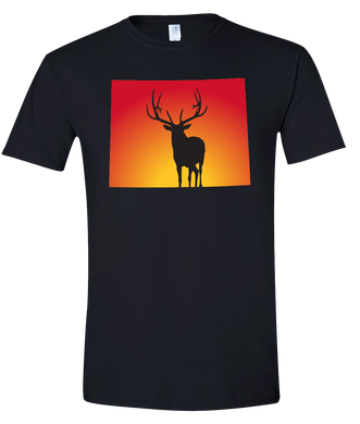 Short Sleeve T-Shirt Wyoming Black Elk Vibrant Design High Quality Tight Knit Ring Spun Low Maintenance Cotton Printed With The Newest Available Color Transfer Technology