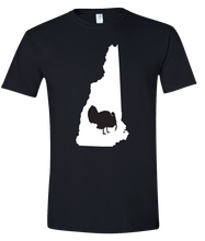 Load image into Gallery viewer, Short Sleeve T-Shirt New Hampshire Black Turkey Vibrant Design High Quality Tight Knit Ring Spun Low Maintenance Cotton Printed With The Newest Available Color Transfer Technology