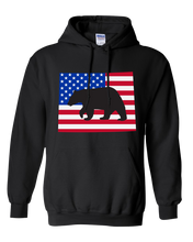 Load image into Gallery viewer, Pullover Hooded Sweatshirt Wyoming Black Black Bear Vibrant Design High Quality Tight Knit Ring Spun Low Maintenance Cotton Printed With The Newest Available Color Transfer Technology