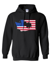 Load image into Gallery viewer, Pullover Hooded Sweatshirt Washington Black Turkey Vibrant Design High Quality Tight Knit Ring Spun Low Maintenance Cotton Printed With The Newest Available Color Transfer Technology