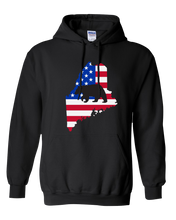 Load image into Gallery viewer, Pullover Hooded Sweatshirt Maine Black Black Bear Vibrant Design High Quality Tight Knit Ring Spun Low Maintenance Cotton Printed With The Newest Available Color Transfer Technology