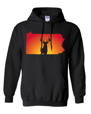 Pullover Hooded Sweatshirt Pennsylvania Black Whitetail Deer Vibrant Design High Quality Tight Knit Ring Spun Low Maintenance Cotton Printed With The Newest Available Color Transfer Technology