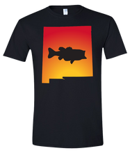 Load image into Gallery viewer, Short Sleeve T-Shirt New Mexico Black Large Mouth Bass Vibrant Design High Quality Tight Knit Ring Spun Low Maintenance Cotton Printed With The Newest Available Color Transfer Technology