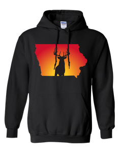 Pullover Hooded Sweatshirt Iowa Black Whitetail Deer Vibrant Design High Quality Tight Knit Ring Spun Low Maintenance Cotton Printed With The Newest Available Color Transfer Technology