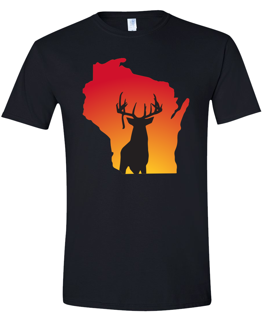 Short Sleeve T-Shirt Wisconsin Black Whitetail Deer Vibrant Design High Quality Tight Knit Ring Spun Low Maintenance Cotton Printed With The Newest Available Color Transfer Technology