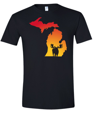 Short Sleeve T-Shirt Michigan Black Moose Vibrant Design High Quality Tight Knit Ring Spun Low Maintenance Cotton Printed With The Newest Available Color Transfer Technology