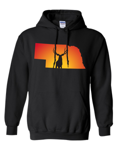 Pullover Hooded Sweatshirt Nebraska Black Mule Deer Vibrant Design High Quality Tight Knit Ring Spun Low Maintenance Cotton Printed With The Newest Available Color Transfer Technology