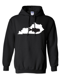 Pullover Hooded Sweatshirt Kentucky Black Large Mouth Bass Vibrant Design High Quality Tight Knit Ring Spun Low Maintenance Cotton Printed With The Newest Available Color Transfer Technology