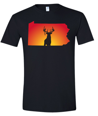 Short Sleeve T-Shirt Pennsylvania Black Whitetail Deer Vibrant Design High Quality Tight Knit Ring Spun Low Maintenance Cotton Printed With The Newest Available Color Transfer Technology