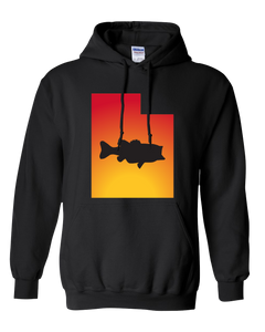 Pullover Hooded Sweatshirt Utah Black Large Mouth Bass Vibrant Design High Quality Tight Knit Ring Spun Low Maintenance Cotton Printed With The Newest Available Color Transfer Technology