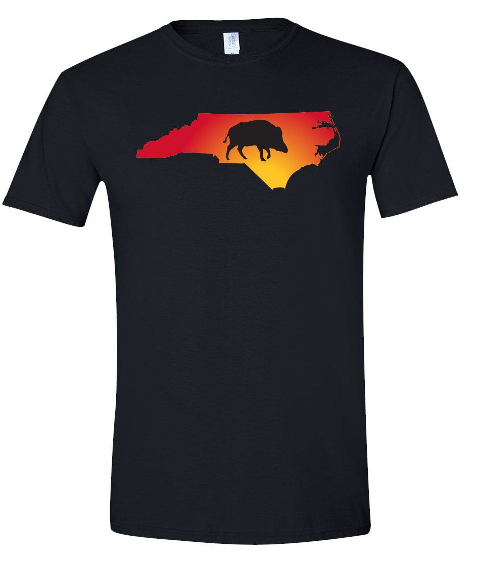 Short Sleeve T-Shirt North Carolina Black Wild Hog Vibrant Design High Quality Tight Knit Ring Spun Low Maintenance Cotton Printed With The Newest Available Color Transfer Technology