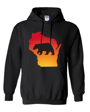 Pullover Hooded Sweatshirt Wisconsin Black Black Bear Vibrant Design High Quality Tight Knit Ring Spun Low Maintenance Cotton Printed With The Newest Available Color Transfer Technology
